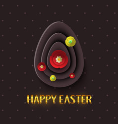 happy easter greeting card with a gold lettering vector image