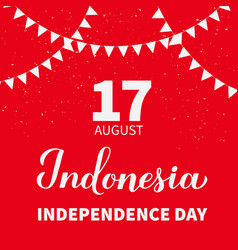 Happy indonesia independence day typography vector