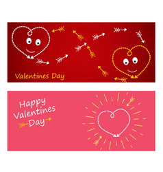 happy valentines day on red background with hearts vector image