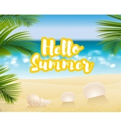 Hello summer Sandy beach cost vector image