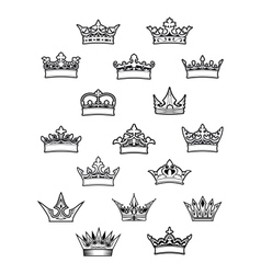 Heraldic king and queen crowns set vector image