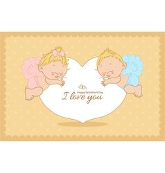 I love you card with cupids horizontal vector image