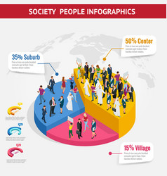Infographic society isometric background vector