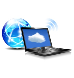 Internet Globe and Laptop cloud world vector image