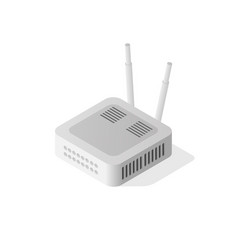 Internet isometric router vector