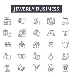 Jewerly business line icons for web and mobile vector