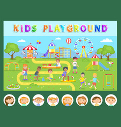 kids playground children and outdoor activity vector image