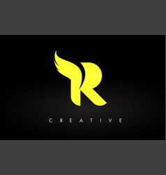 Letter r logo with yellow colors and wing design vector