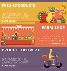 Local farmer market products delivery posters vector