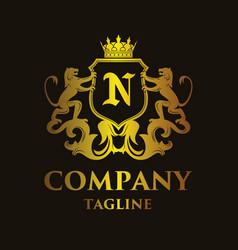 Luxury letter n logo vector