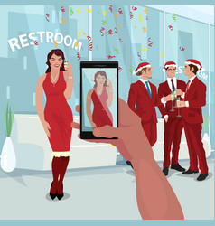 Making photo of girl at office new year party vector