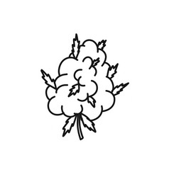 Marijuana bud doodle icon vector