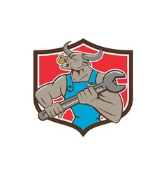 Mechanic Minotaur Bull Spanner Shield Cartoon vector