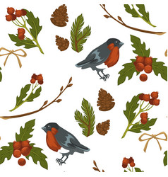 merry christmas bullfinch bird and mistletoe vector image