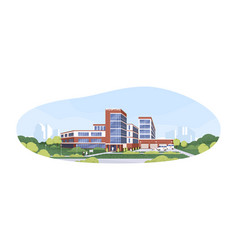 Modern building exterior municipal hospital vector