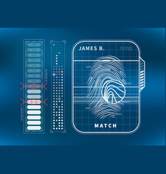 modern fingerprint scan with charts futuristic vector image