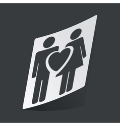 Monochrome love couple sticker vector image