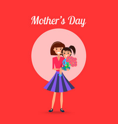 mothers day poster with woman and little girl vector image