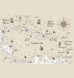 Old map caribbean vector