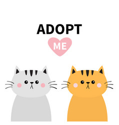 Orange gray cat silhouette set adopt me pink vector