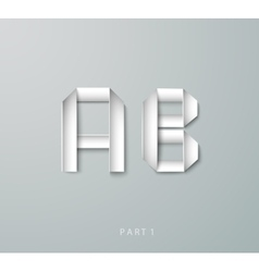 Paper origami alphabet a b with shadows vector