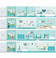 Patient and doctor in hospital vector