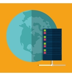 Planet data center web hosting graphic vector