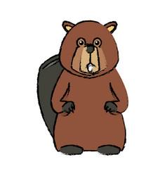 Portrait of beaver cute face of aquatic fluffy vector