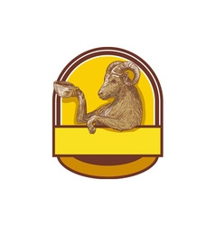 Ram goat drinking coffee crest drawing vector