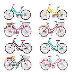 retro bicycles set colorful bicycle collection vector image