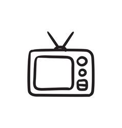 Retro television sketch icon vector
