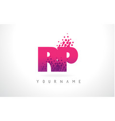 Rp r p letter logo with pink purple color and vector