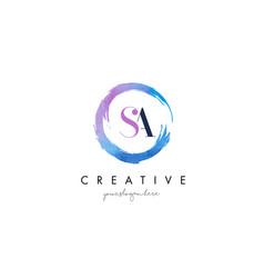 Sa letter logo circular purple splash brush vector