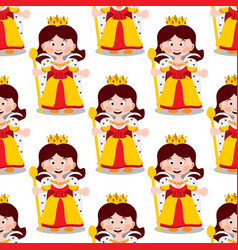 seamless pattern with cartoon queens vector image