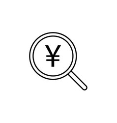 search magnifier yuan icon element of finance vector image