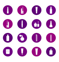 set of cosmetics icons on color background vector image