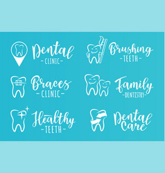 Set of dentistry labels for a dental clinic vector