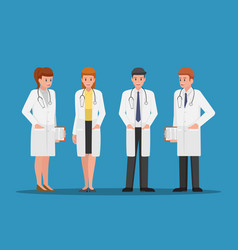 set of male and female doctors characters vector image