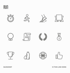 set running competition thin line icons vector image