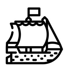 Ship pirate line icon vector