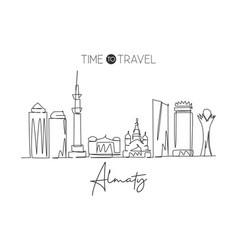 single continuous line drawing almaty skyline vector image