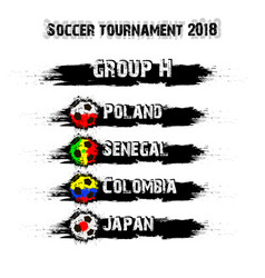 soccer tournament 2018 group h vector image