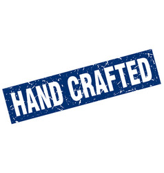 Square grunge blue hand crafted stamp vector