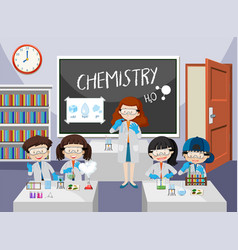 students experiment in chemistry class vector image