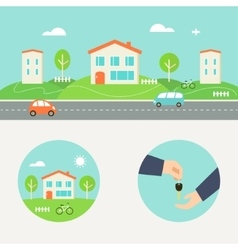 Town Street with Houses and Cars Header Renting vector