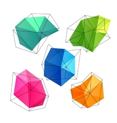 Triangle low poly circles set Abstract business vector image
