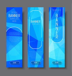 vertical banners with polygonal abstract blue vector image vector image