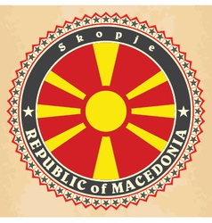 Vintage label cards of Macedonia flag vector image