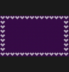 violet fabric knitted background framed with knit vector image