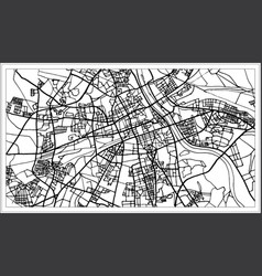 Warsaw poland map in black and white color vector